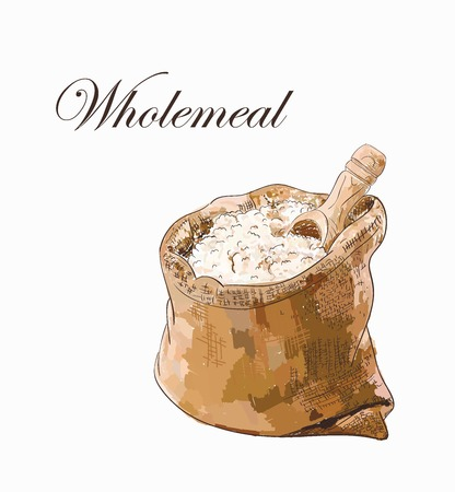 Vector colorful sketch of wholemeal white bread flour in the burlap with wooden scoop