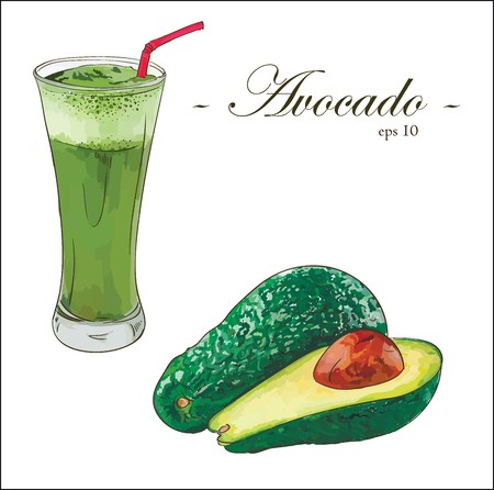 Avocado vector set with smoothie