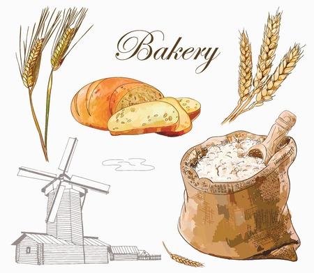 彫刻ミル、パン、全粒粉、小麦の耳を使用したベーカリーベクトルセット  イラスト・ベクター素材