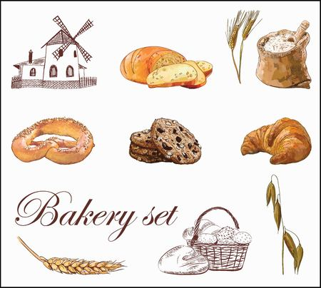 Bakery vector set with colorful illustration