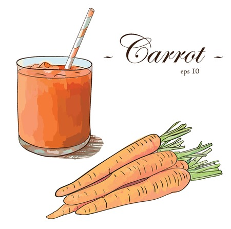 Carrot juice with carrot bunch isolated on white background