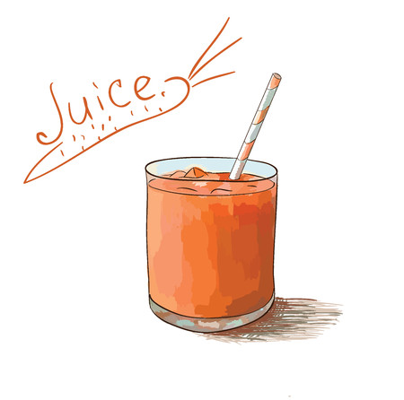 Carrot juice and tube with text isolated on white background