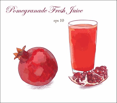 Pomegranate fresh juice with red ripe fruit