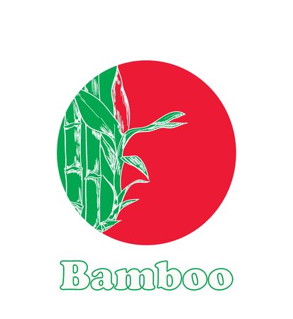 Bamboo vector sketch with red and green background