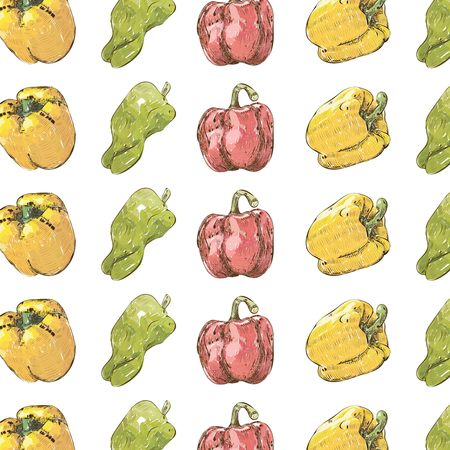 A seamless vector of red, yellow and green bell peppers