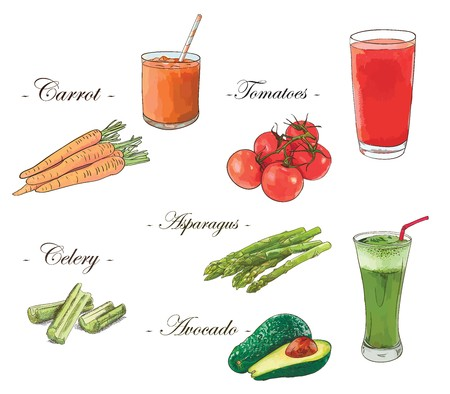 Fresh juices vector set of carrot, tomato, celery, asparagus and avocado.