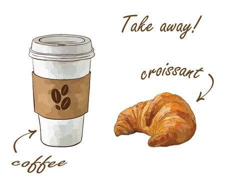 Coffee paper cup with sweet croissant illustration.