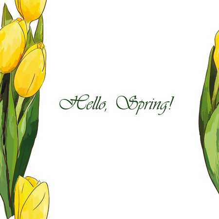 Hello Spring floral poster. Hello spring greeting card with tulips