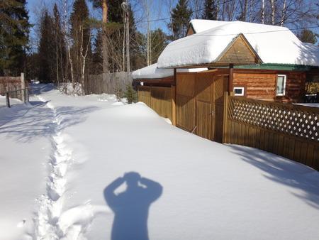 path cottage garden: winter village Stock Photo