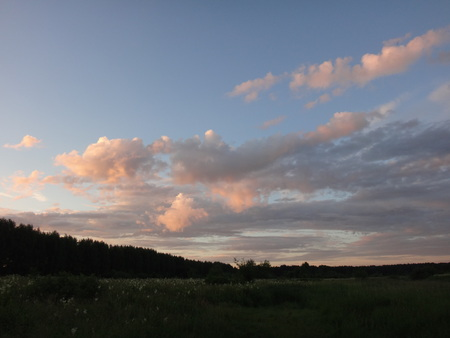 pink sunset: Pink sunset and white clouds in summer evening Stock Photo
