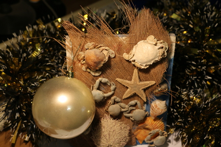 creatures: Christmas toys and a collage of sea creatures