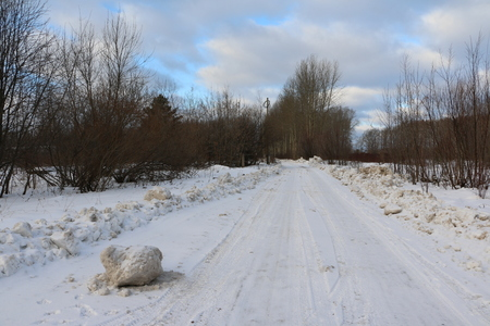 primer: Snowy road surrounded by a forest on a winter day Stock Photo