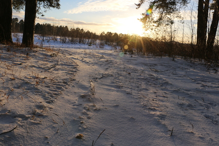 snow road: Snow road and sunset in winter day