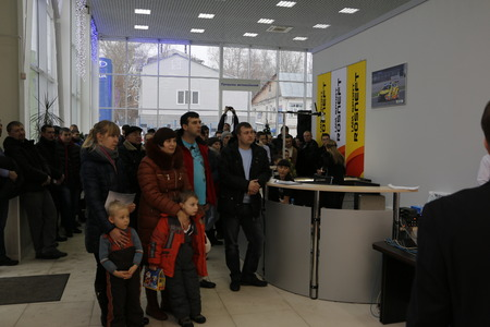 russian car: Kirov, Russia, December 26, 2015 - People during the presentation of the new Russian car Lada Vesta December 26, 2015 in the automobile showroom of dealer Severavto