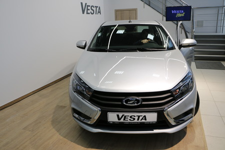 russian car: Kirov, Russia, December 26, 2015 - New Russian car Lada Vesta during presentation of dealer Severavto