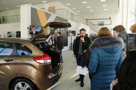 russian car: Kirov, Russia, December 26, 2015 - New Russian car Lada XRAY Editorial