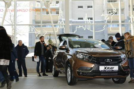 russian car: Kirov, Russia, December 26, 2015 - New Russian car Lada XRAY Editorial