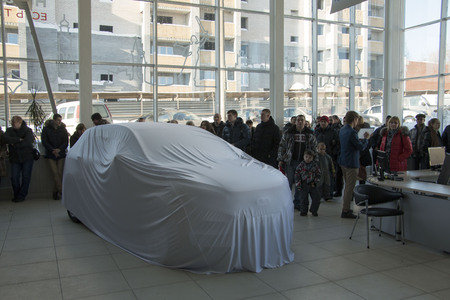 russian car: Kirov, Russia, February 14, 2016 - Presentation of New Russian car Lada XRAY Editorial