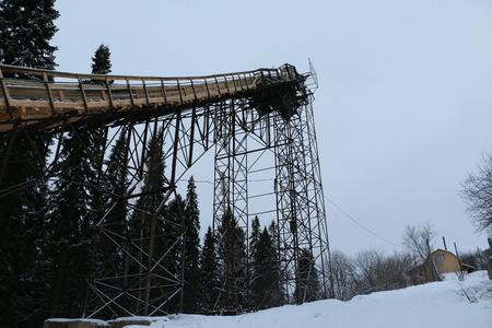 ski jump: Ski jump in Park in winter day