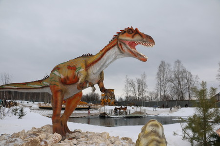 irov, Russia, February 10, 2016 - Getting started dinosaur Park Yurkin Park Editorial