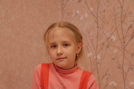 modesty: Young girl in red dress