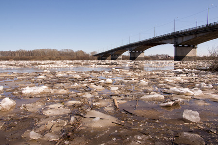 shelf ice: Ice drift and river in spring day Stock Photo