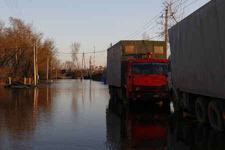 kirov: High water in river in a spring day at 27th of April in 2016 in Kirov city
