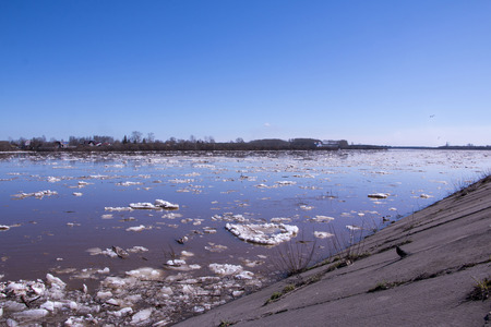 snow break: Ice drift and river in spring day Stock Photo