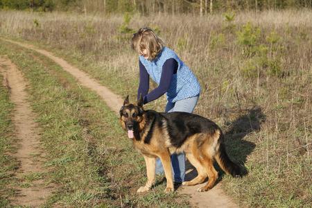 german shepherd dog: Girl and German shepherd dog on the field
