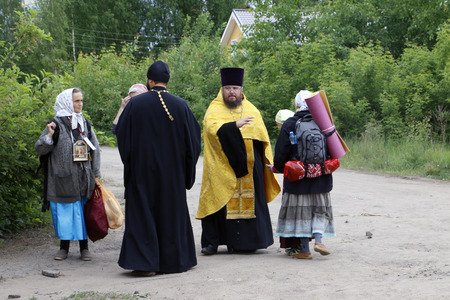the believer: Russia, Kirov - June 06, 2016: Religious Procession on the Vyatka in 2016 in Kirov city Editorial