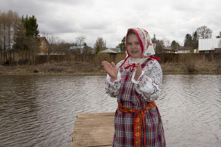 russian girl: Beautiful young Russian girl in national dress
