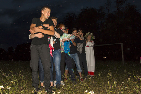 kirov: Russia, Kirov - June 06, 2016: Celebration of the night of Ivan Kupala in Shikhovo in 2016