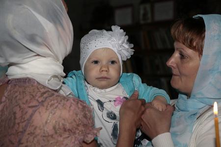 kirov: Russia, Kirov - June 10, 2016: Baby Baptism in church of village Viaz in Kirov city in 2016