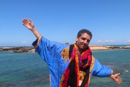 tourist guide: Tourist guide in the country of Morocco tells something
