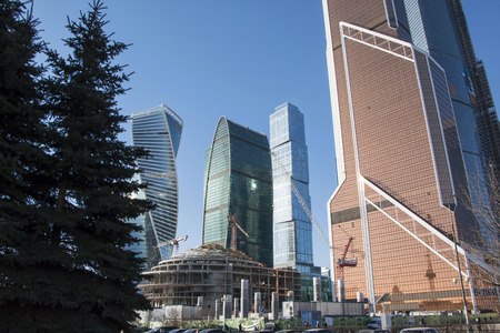 mart: Russia, Moscow - Mart 23, 2016: Big building in Moscow in 2016