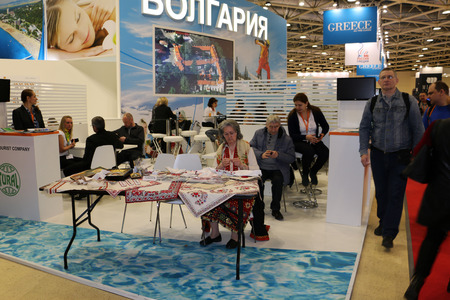 mitt: Russia, Moscow - March, 23, 2016: Tourist Exhibition MITT in Moscow in 2016