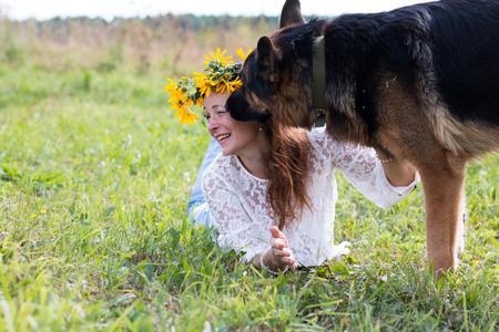 german girl: Pretty girl and dog German shepherd outdoor Stock Photo