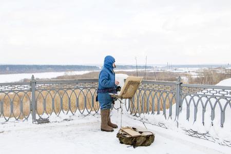 kirov: Russia, Kirov - February 23, 2016: Alexandrovsky Park in Kirov in 2016 Editorial