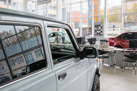 kirov: Russia, Kirov - October 10, 2016: Showroom of dealership of car factory AVTOVAZ in Kirov city in 2016