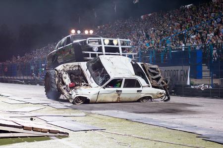 aerodynamic: Russia, Kirov - August, 10, 2016: Extreme car show in Kirov city in 2016
