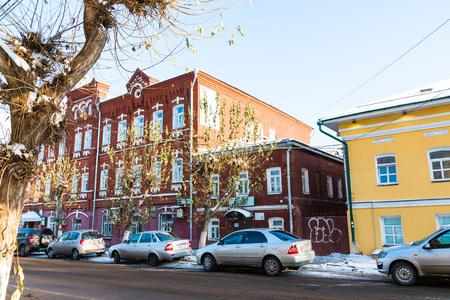 kirov: Russia, Kirov - November 07, 2016: Building and street in winter in old part of Kirov city in 2016