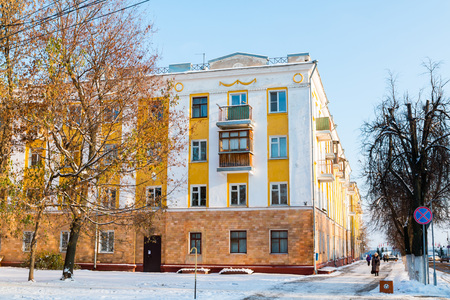 outbuilding: Russia, Kirov - November 07, 2016: Building and street in winter in old part of Kirov city in 2016