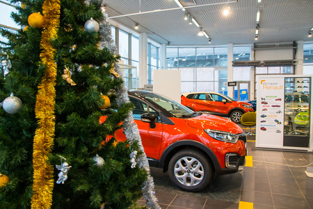 Russia, Kirov - December 05, 2016: Showroom and car Renault of dealership Tehzentr Gusar in Kirov city in 2016