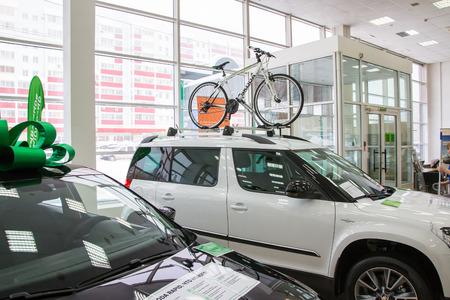kirov: Russia, Kirov - December 06, 2016: Showroom and car of dealership Skoda in Kirov city in 2016