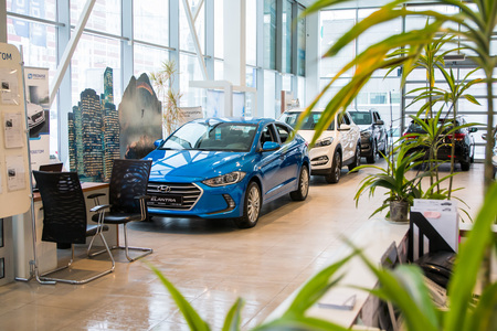 Russia, Kirov - December 06, 2016: Showroom and car of dealership Hyndai in Kirov city in 2016 Editorial