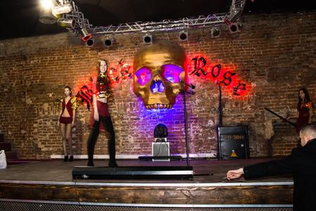 rehearsal: Russia, Kirov - November, 26, 2016: Rehearsal before fashion performance Art Chaos in night club Black Rose in Kirov city in 2016