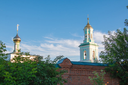 church steeple: Beautiful chirch and blue sky in good day Stock Photo