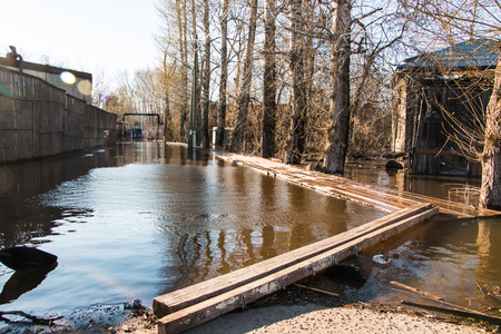 Russia, Kirov – April 27, 2016: High water in river in a spring day in 2016 in Kirov city