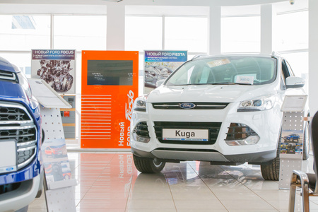 Russia, Kirov - March 01, 2017: Showroom and car of dealership Ford in Kirov city in 2017 Editorial
