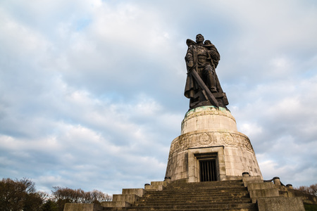 Germany, Berlin - April, 20, 2017: Monument in war memorial Treptov park for soviet soldiers in Berlin in 2017 Editorial